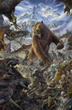 fantastic bear warrior Oil Paintings